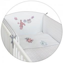 Pościel 3-el haftowana Ceba Baby Zajączki białe