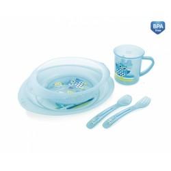 Plastikowy zestaw stołowy 12m+ 320 ml Canpol 4/405 Sówki