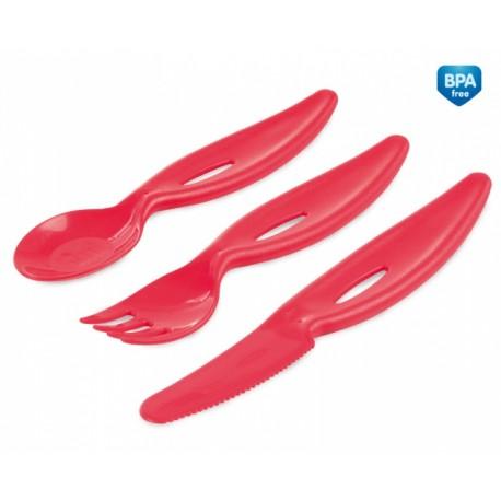 Zestaw sztućców plastikowych: łyżka, widelec, nóż 12m+ Canpol 31/418