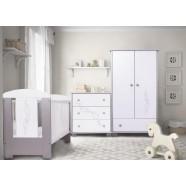 Zestaw mebli Drewex Gwiazdki srebrno-białe - łóżeczko 120x60