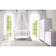 Zestaw mebli Drewex Miś i Motylek srebrno-biały - łóżeczko 120x60