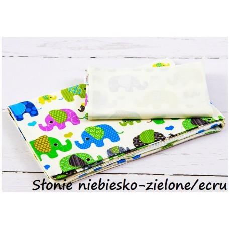 2-el Słonie niebiesko-zielone ecru