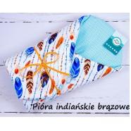 Becik rożek bawełniany miękki 75x75 cm Infantilo - Pióra indiańskie brązowe