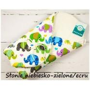 Becik rożek bawełniany miękki 75x75 cm Infantilo - Słonie niebiesko-zielone ecru