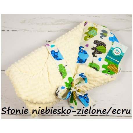 Becik Minky - Słonie niebiesko-zielone ecru