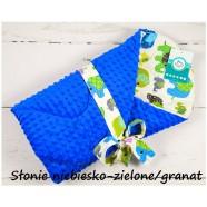 Becik rożek Minky 75x75 cm Infantilo - Słonie niebiesko-zielone granat