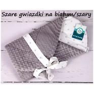 Becik rożek Minky 75x75 cm Infantilo - Szare gwiazdki na białym