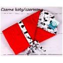 Becik rożek Minky 75x75 cm Infantilo - Czarne koty czerwony