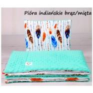 Kocyk Minky 75x100 cm + poduszka 35x30 cm Infantilo - Pióra Indiańskie brązowe mięta