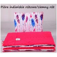 Kocyk Minky 75x100 cm + poduszka 35x30 cm Infantilo - Pióra Indiańskie różowe ciemny róż
