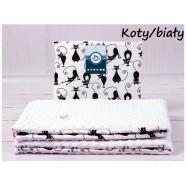 Kocyk Minky 75x100 cm + poduszka 35x30 cm Infantilo - Koty biały