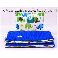 Kocyk Minky 75x100 cm + poduszka 35x30 cm Infantilo - Słonie niebiesko-zielone granatowy