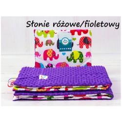 Kocyk Minky 75x100 cm + poduszka 35x30 cm Infantilo - Słonie różowe fioletowy