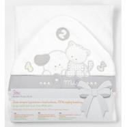 Okrycie kąpielowe frote z aplikacją 95x95 cm Libra Babies - Amici biało-szare