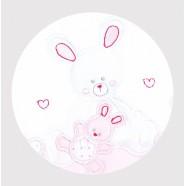 Okrycie kąpielowe frote z aplikacją 95x95 cm Libra Babies - Zwierzątka różowe