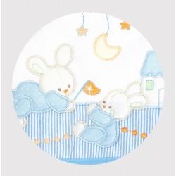 Okrycie kąpielowe frote z aplikacją 95x95 cm Libra Babies - Króliki niebieskie