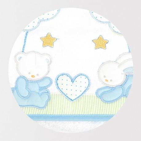 okrycie 95x95 cm Libra Babies - Zwierzątka niebieskie serduszko