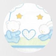 Okrycie kąpielowe frote z aplikacją 95x95 cm Libra Babies - Zwierzątka niebieskie serduszko