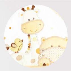 Okrycie kąpielowe frote z aplikacją 95x95 cm Libra Babies - Żyrafka ecru
