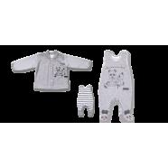 Komplet Lafel Panda śpiochy + kaftanik kod 8835 szaro-biały rozm. 56-74 cm