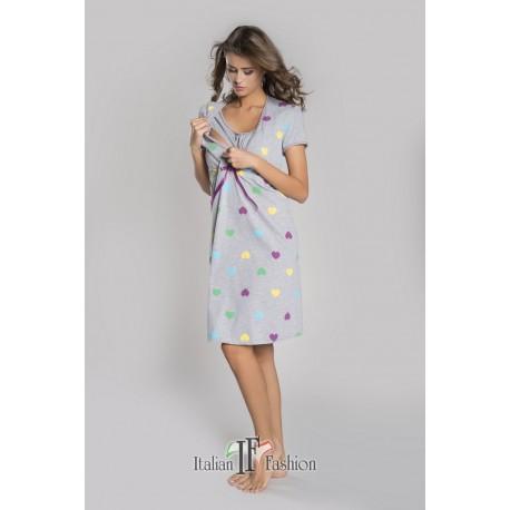 Koszulka krótki rękaw Italian Fashion Alla szara w serduszka