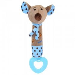 Grzechotka pluszowa z piszczkiem Myszka niebieska Baby Mix STK-16058B