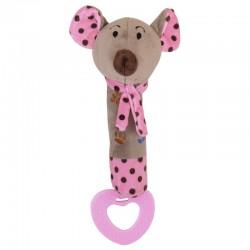 Grzechotka pluszowa z piszczkiem Myszka różowa Baby Mix STK-16058P