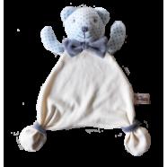 Maskotka przytulanka chusteczka GONZO 0770 Miś Alek 30 cm - niebieski-szary