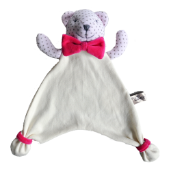 Maskotka przytulanka chusteczka GONZO 0770 Miś Alek 30 cm - różowy-amarant