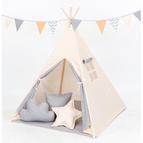 Namiot Tipi Mamo-Tato - Beż / mini gwiazdki białe na szarym