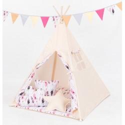 Namiot Tipi Mamo-Tato - Beż / piórka burgund