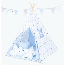 Namiot Tipi Mamo-Tato - Gwiazdki szare i niebieskie / jasny błękit