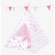 Namiot Tipi Mamo-Tato - Gwiazdki szare i różowe / jasny róż