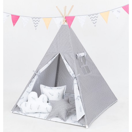 Namiot Tipi Mamo-Tato - Mini gwiazdki białe na szarym / wróżki szare