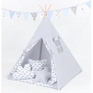 Namiot Tipi Mamo-Tato - Popiel / chmurki szare na bieli