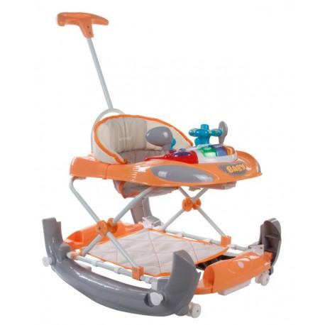 Chodzik kołyska z kierownicą i popychaczem Sun Baby B01.014 - pomarańczowy