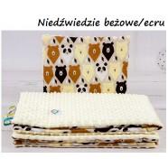 Kocyk Minky 75x100 cm + poduszka 35x30 cm Infantilo - Niedźwiedź Beż+Ecru