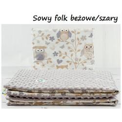 Kocyk Minky 75x100 cm + poduszka 35x30 cm Infantilo - Sowy Folk Beż+Szary