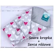 Becik rożek bawełniany miękki 75x75 cm Infantilo - Szara kropka + serca różowe