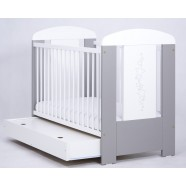 Łóżeczko Drewex Gwiazdki szuflada - srebrno-białe