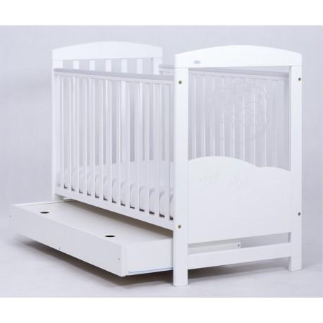 Łóżeczko Drewex Miś na Chmurce LED szuflada - białe