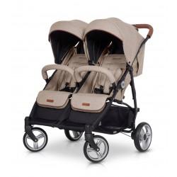 Wózek dziecięcy bliźniaczy EasyGo Domino spacerowy - Latte