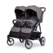 Wózek dziecięcy bliźniaczy EasyGo Domino spacerowy - Anthracite