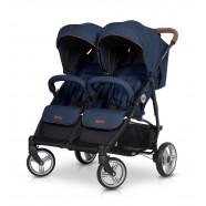 Wózek dziecięcy bliźniaczy EasyGo Domino spacerowy - Denim