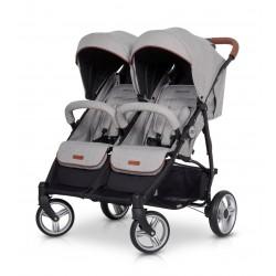 Wózek dziecięcy bliźniaczy EasyGo Domino spacerowy - Grey Fox
