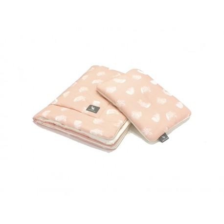Kocyk z poduszką 100x80 cm Cottonmoose - 408 Leaf Powder Pink