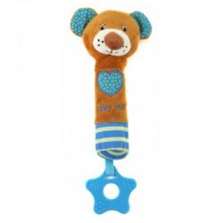 Grzechotka pluszowa z piszczkiem Baby Mix STK-16431B - Miś niebieski