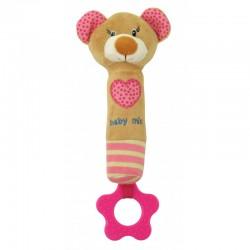 Grzechotka pluszowa z piszczkiem Baby Mix STK-16431P - Miś różowy