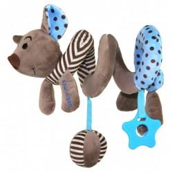 Pluszowa spiralka edukacyjna Baby Mix STK-16433B - Myszka brązowo-niebieska