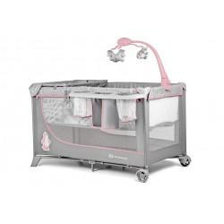 Łóżeczko Kinderkraft Joy z akcesoriami - szare + róż